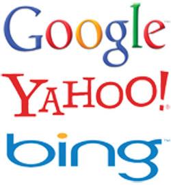 Motores de busca, Google, Yahoo e Bing